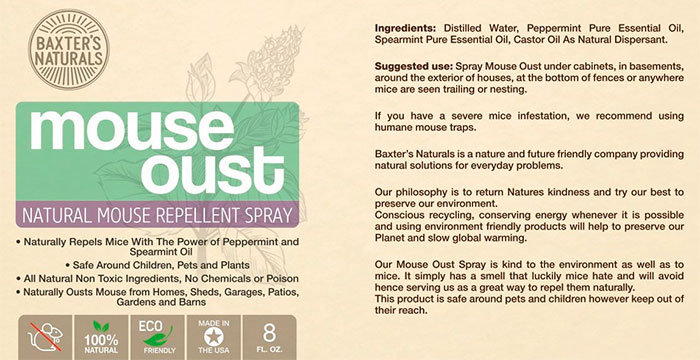 Mouse Oust Repellent Spray Instructions and Ingredients