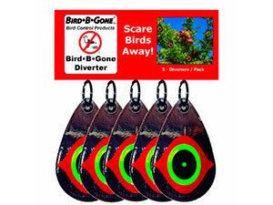... Teardrop Shaped Hanging Visual Deterrents That Feature A Predator Eye  On A Reflective Surface. Cost: $20.00. Where To Buy: Available At Bird B Gone  How ...