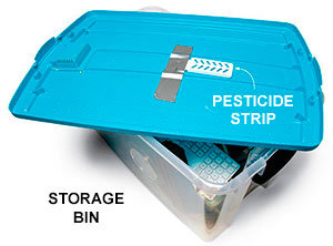 Pesticide strip in storage bin